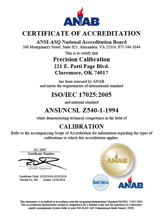 PrecisionCalibrationCertScope ANAB V000