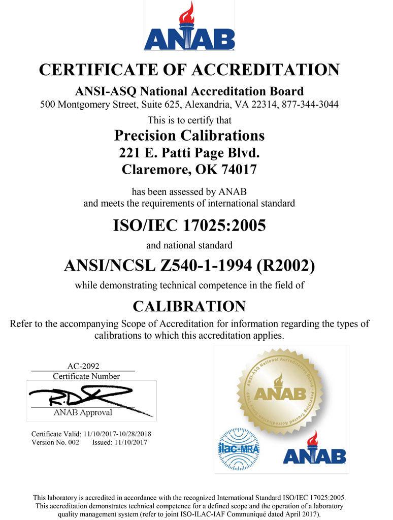 PrecisionCalibrationCertScope ANAB V001 1